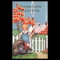 Whitney Boy with Turkey Thanksgiving Greetings vintage Postcard