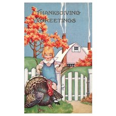 Whitney Boy with Turkey Thanksgiving Greetings vintage Postcard