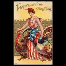 No 208 Patriotic  Miss Liberty Dressed In American Flag Dress Guiding Turkeys Thanksgiving Postcard