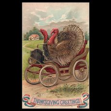 Super Sporty Patriotic Turkeys making a getaway in a car Vintage Postcard