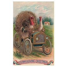 The Getaway Turkeys in a car Patriotic Ribbon Gold Gilt Embossing #2 of 2 ABS Series 290 Vintage Postcard