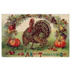 1919 Beautiful Gold Gilt Gel Thanksgiving Turkey Postcard