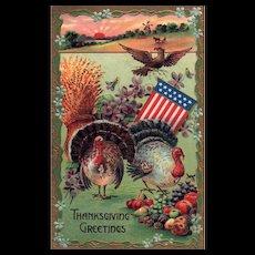 Vintage patriotic Thanksgiving Postcard with Turkeys & Eagle WIndmill Sunrise