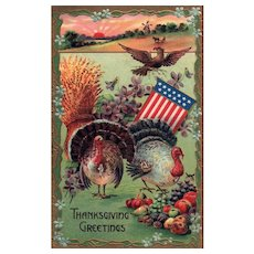 Vintage patriotic Thanksgiving Postcard with Turkeys & Eagle WIndmill Sunrise