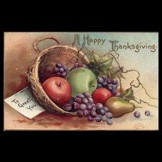 1909 Signed Ellen Clapsaddle  Vintage Thanksgiving Postcard  Fruit Basket Harvest