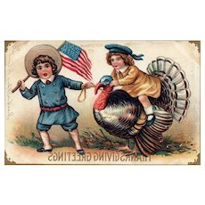 1909 Vintage Patriotic Thanksgiving Postcard American Flag Children riding turkey