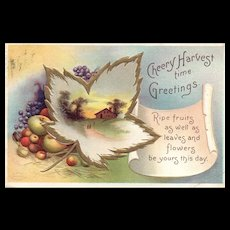 Signed Ellen Clapsaddle Vintage Fall leaves Harvest Series 2445