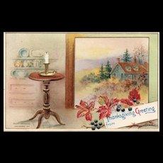 1912 John WInsch Thanksgiving Greeting Fall Homestead scene vintage Postcard