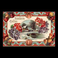 Beautiful Scenic and colorful P Sander Vintage  Thanksgiving Postcard
