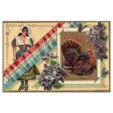1910 Patriotic Pilgrim Thanksgiving Postcard P Sanders
