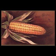 Signed Ellen Clapsaddle Harvest Corn Thanksgiving Day Greeting Vintage Postcard