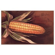 Signed Ellen Clapsaddle Harvest Corn Thanksgiving Day Greeting Vintage Postcard