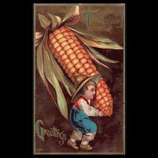 No 524 Gold Metallic Young Boy Carrying Large Corn Thanksgiving Greetings Postcard