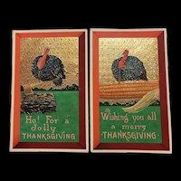 Gel Gold Metallic Gilt Embossed Set Of Two Thanksgiving Turkey Postcard Set