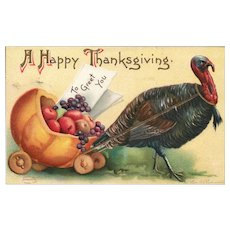 Signed Ellen Clapsaddle vintage Thanksgiving postcard #51670
