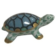 Herend Hand painted numbered turtle green blue and gold