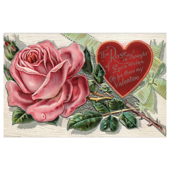 Flower Valentine Series The Rose is Thought Love divine Embossed Vintage Postcard