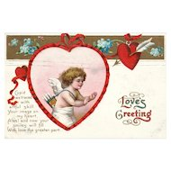 1911 Ellen Clapsaddle Vintage Valentine Postcard with Love's Greeting from Cupid