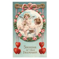 Souvenir of True Friendship Vintage Valentine Cupid postcard