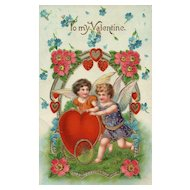 AMB Vintage Gel Gold Gilt Valentine Cupid postcard Series 15903