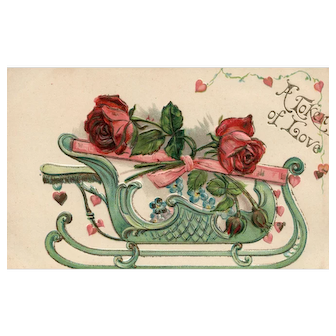 Vintage Valentine Love Token Romantic sleigh filled with roses postcard