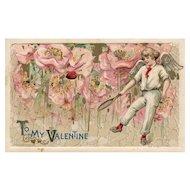 Rare Schmucker John Winsch Cupid tennis Player Valentine vintage postcard