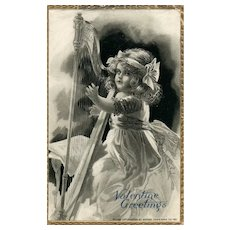 Scarce Raphael Tuck Golden Chords Series 112 Girl playing Harp vintage Postcard