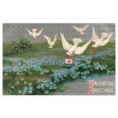 Vintage Valentine Spring Flowers White Dove Birds delivering hearts and messages