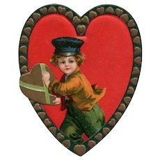 1910 Ellen Clapsaddle Vintage Valentine Dutch boy Delivers a heart Love Postcard