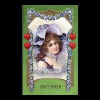 1911 Beautiful Woman Love's Token Violets Green Background Vintage Valentine Postcard