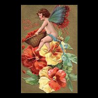 Vintage Fairy Valentine Butterfly Fairy with Pansies & Hearts postcard