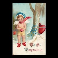 Signed Ellen Clapsaddle Heart wrapped around the Tree 3019