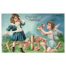 Early Pre 1906 Cupid's Message vintage Valentine Postcard