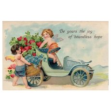 Vintage Valentine Cupid Fairies loading up hearts and flowers on Automobile Series 681 Postcard