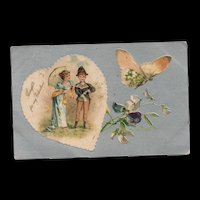 Early Nash 1907 Valentine with a Butterfly Vintage Postcard