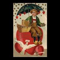 1908 Ellen Clapsaddle No 941 Umbrella Covering Dutch Child From Raining Hearts Gold Valentine Postcard