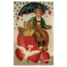 1908 Ellen Clapsaddle No 941 Umbrella Covering Dutch Child From Raining Hearts Gold Valentine Postcard