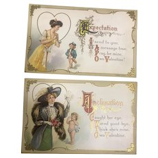 Set of 2 Valentine Vintage Postcards by H Wessler
