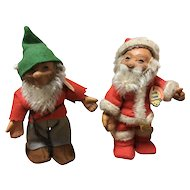 Set of 2 Collectible Steiff Santa Claus & Pucki Circa 1957 with tags & Display box
