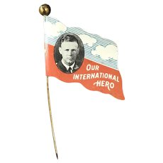 Rare 1920's 2 1/2 Inch Charles Linbergh Flag Pin with photo and Our International Hero