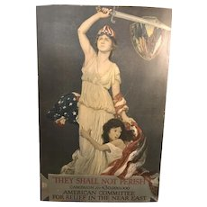 1918 Original WWI Poster They Shall Not Perish American Committee Patriotic