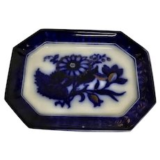 Vintage Antique 1840's Blue T Walker Flora Platter