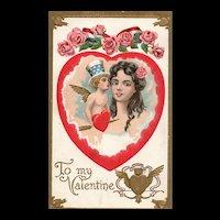 Patriotic Uncle Sam Cupid vintage Valentine Postcard