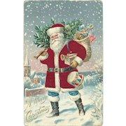 Red Robed Patriotic Santa Claus Bag Toys Drum American Flag Silk Postcard