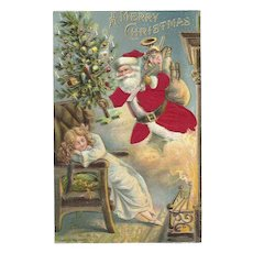 Red Robed Santa Chimney Christmas Tree Little Girl Silk Embossed Postcard