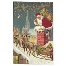 Red Robed Santa Claus Chimney Reindeer Sleigh Roof Top Silk Embossed Postcard
