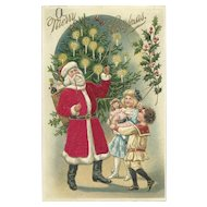 Santa Claus Red Robe Lighting Candles Christmas Tree Holly Children Silk Embossed Postcard