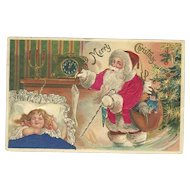 Santa Claus Red Robe Stocking Little Girl Sleeping Silk Embossed Postcard