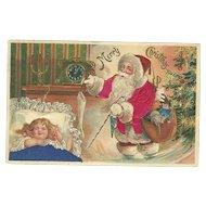 Santa Claus Red Robe Stocking Little Girl Sleeping Silk Embossed Postcard