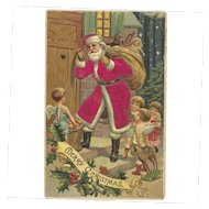 Santa Claus Red Robe Angels Wings Toy Bag Silk Embossed Postcard